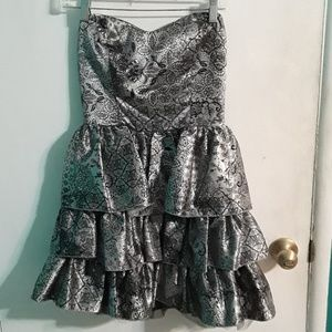 Black and Gray Prom Strapless Dress